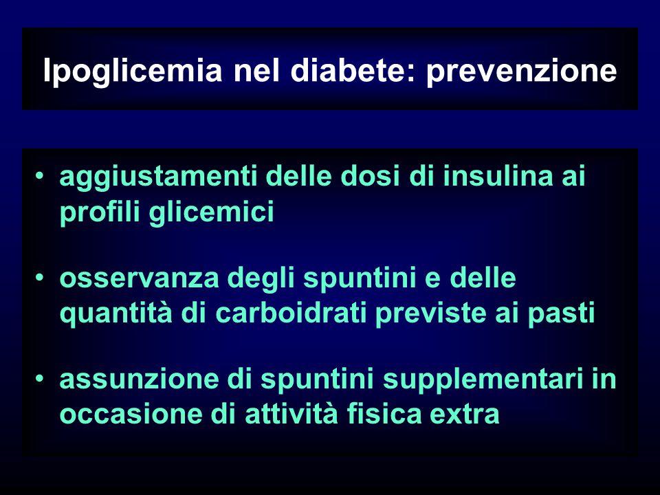 Ipoglicemia nel diabete: prevenzione aggiustamenti delle dosi di insulina ai profili glicemici osservanza degli spuntini e delle quantità di carboidrati previste ai pasti assunzione di spuntini supplementari in occasione di attività fisica extra