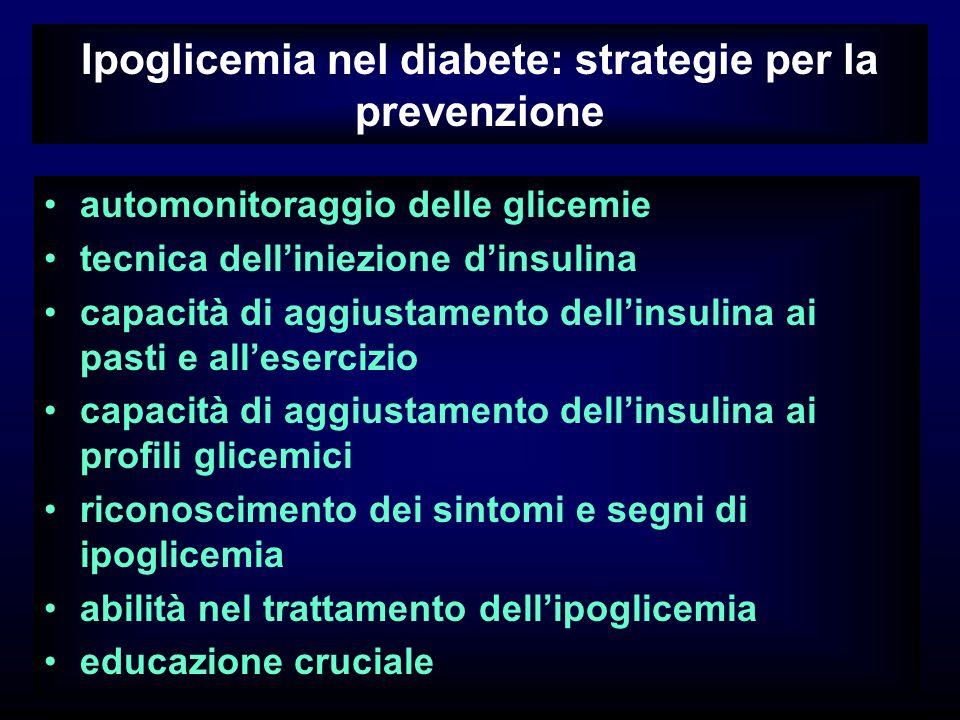 Ipoglicemia nel diabete: strategie per la prevenzione automonitoraggio delle glicemie tecnica delliniezione dinsulina capacità di aggiustamento dellinsulina ai pasti e allesercizio capacità di aggiustamento dellinsulina ai profili glicemici riconoscimento dei sintomi e segni di ipoglicemia abilità nel trattamento dellipoglicemia educazione cruciale