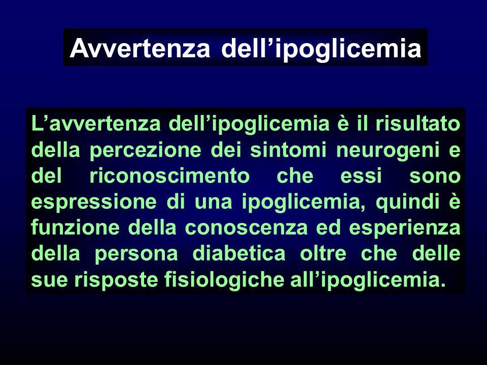 Avvertenza dellipoglicemia Lavvertenza dellipoglicemia è il risultato della percezione dei sintomi neurogeni e del riconoscimento che essi sono espres