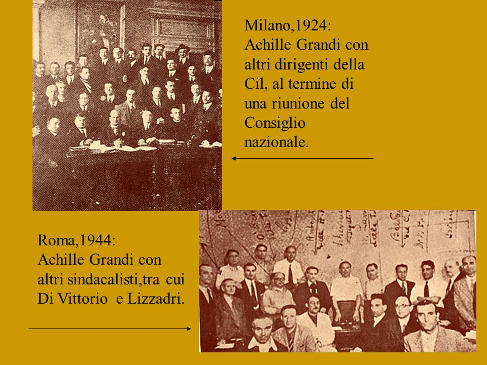 Roma,1923: Achille Grandi tra i delegati al Secondo Congresso dei tramvieri bianchi,come sta scritto in alto sulla foto. S.L.,1922: Achille Grandi con