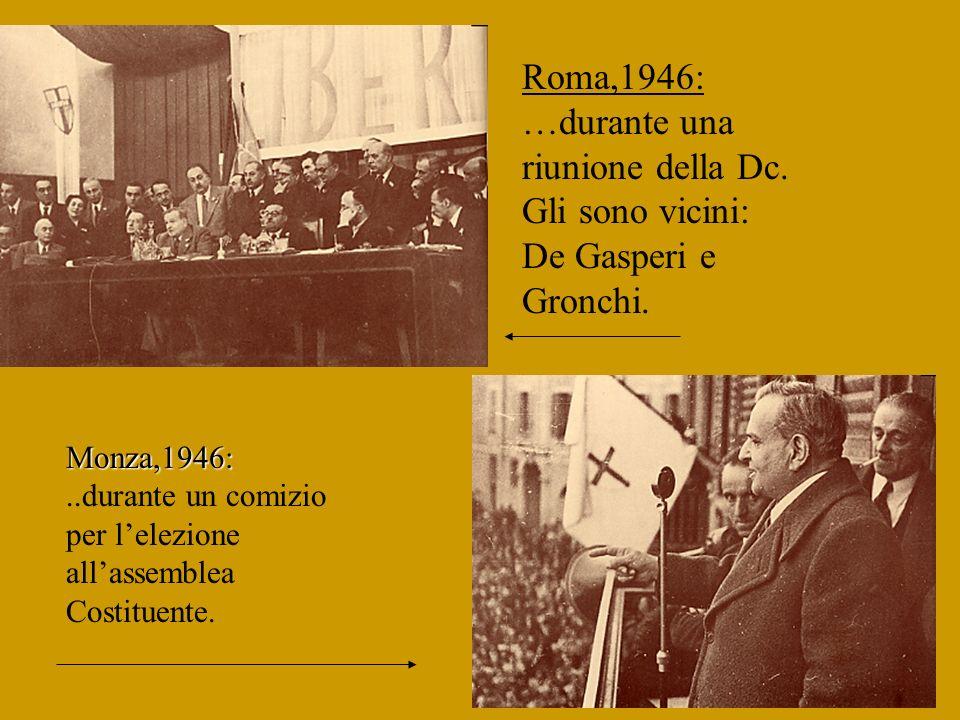 Roma,1944: Achille Grandi con altri sindacalisti,tra cui Di Vittorio e Lizzadri. Milano,1924: Achille Grandi con altri dirigenti della Cil, al termine