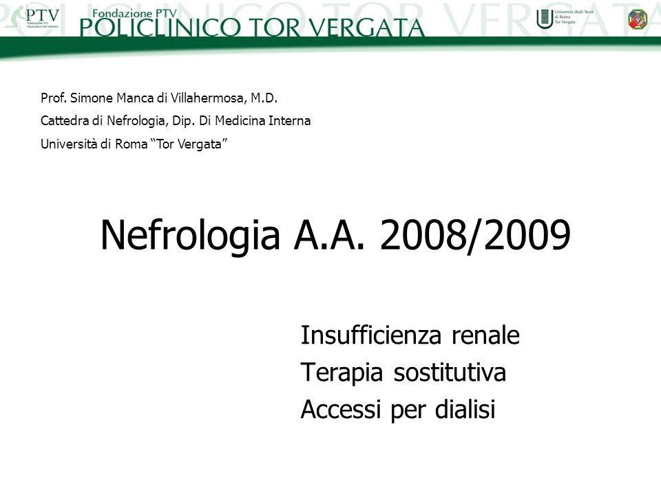 Nefrologia A.A. 2008/2009 Insufficienza renale Terapia sostitutiva Accessi per dialisi Prof. Simone Manca di Villahermosa, M.D. Cattedra di Nefrologia