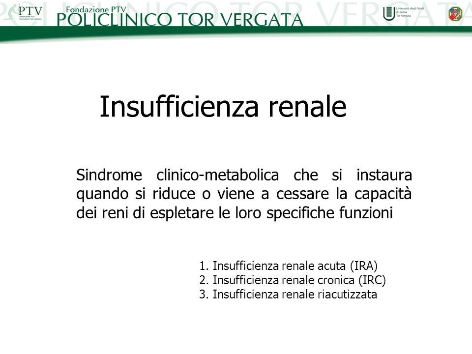 Insufficienza renale acuta (IRA) Rapida riduzione della funzione renale e progressivo aumento della concentrazione plasmatica di cataboliti urinari con o senza contrazione della diuresi 1.