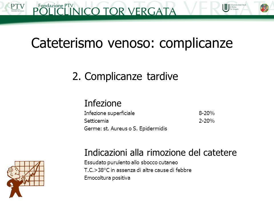 2. Complicanze tardive Infezione Infezione superficiale8-20% Setticemia2-20% Germe: st. Aureus o S. Epidermidis Indicazioni alla rimozione del cateter