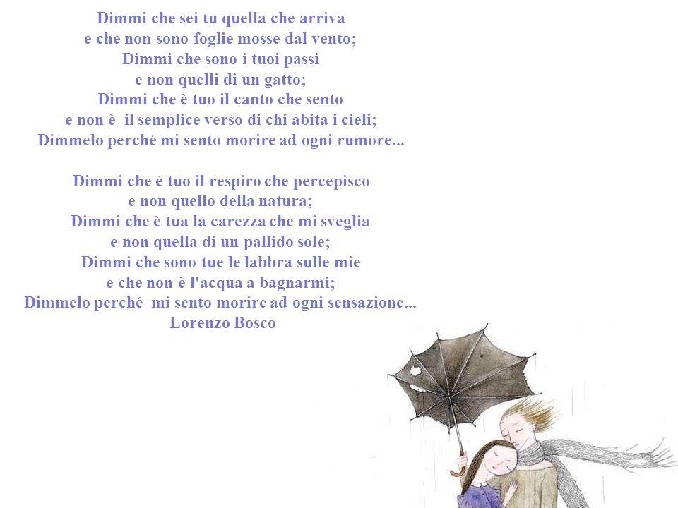 Dimmi che sei tu quella che arriva e che non sono foglie mosse dal vento; Dimmi che sono i tuoi passi e non quelli di un gatto; Dimmi che è tuo il canto che sento e non è il semplice verso di chi abita i cieli; Dimmelo perché mi sento morire ad ogni rumore...
