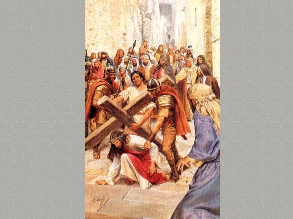 Mi stavo incamminando verso i campi, quando lo vidi portare la Sua croce; e lo seguiva una gran folla.