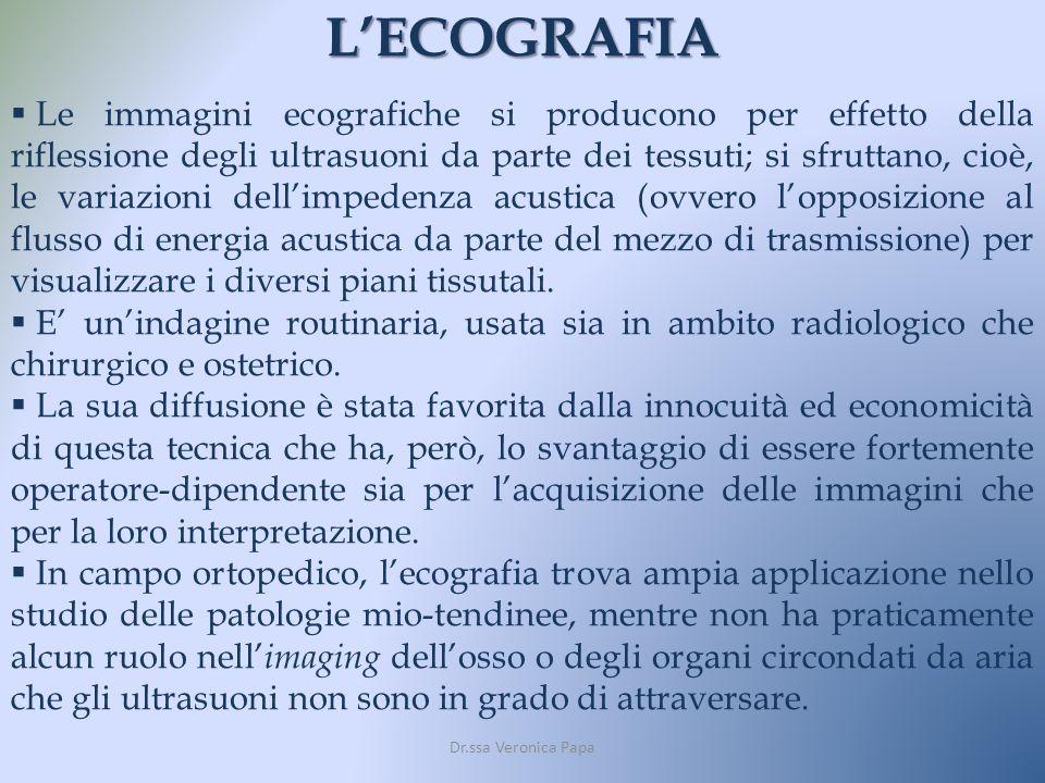 LECOGRAFIA Le immagini ecografiche si producono per effetto della riflessione degli ultrasuoni da parte dei tessuti; si sfruttano, cioè, le variazioni