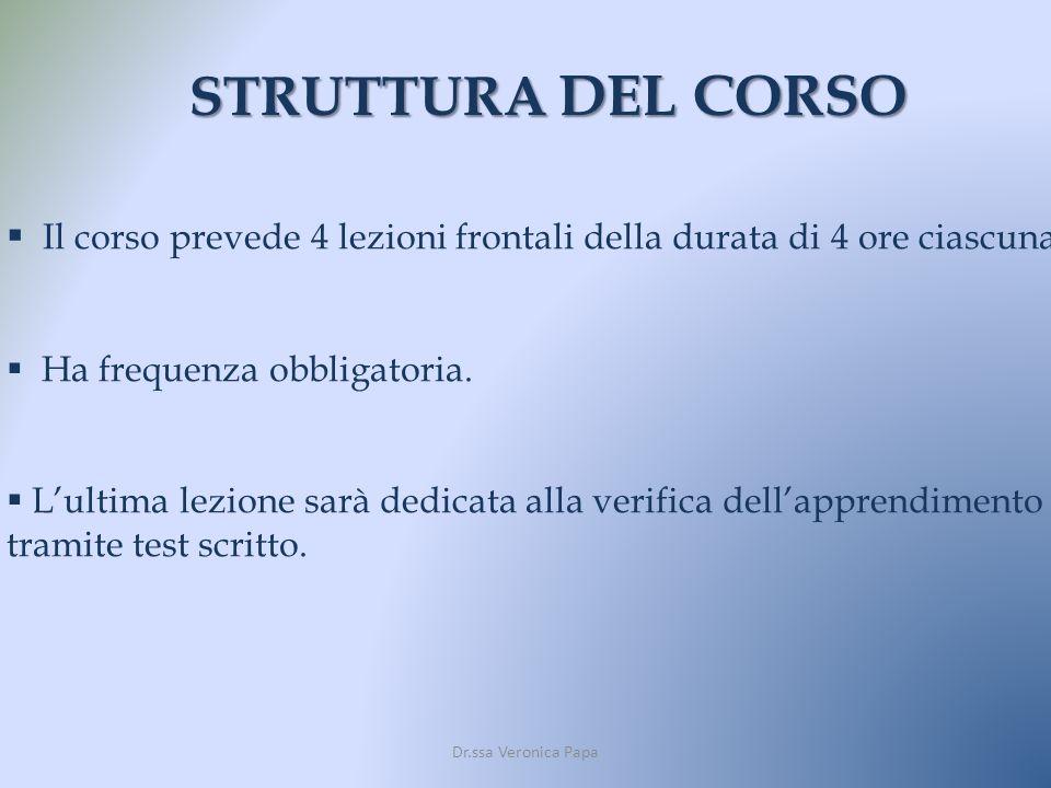 STRUTTURA DEL CORSO Il corso prevede 4 lezioni frontali della durata di 4 ore ciascuna. Ha frequenza obbligatoria. Lultima lezione sarà dedicata alla