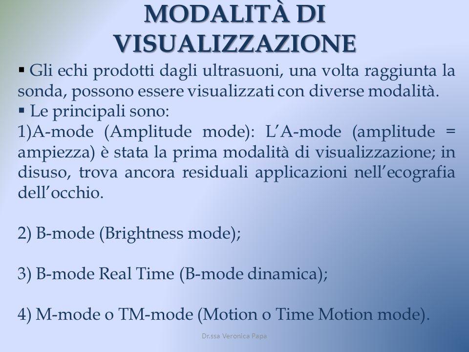 MODALITÀ DI VISUALIZZAZIONE Dr.ssa Veronica Papa Gli echi prodotti dagli ultrasuoni, una volta raggiunta la sonda, possono essere visualizzati con div