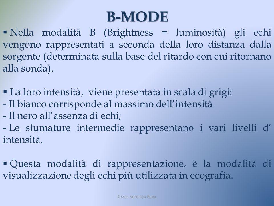 B-MODE Dr.ssa Veronica Papa Nella modalità B (Brightness = luminosità) gli echi vengono rappresentati a seconda della loro distanza dalla sorgente (de