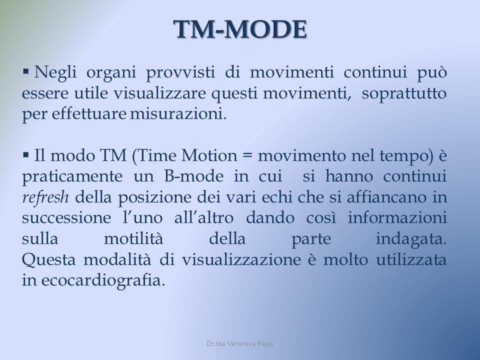TM-MODE Dr.ssa Veronica Papa Negli organi provvisti di movimenti continui può essere utile visualizzare questi movimenti, soprattutto per effettuare m