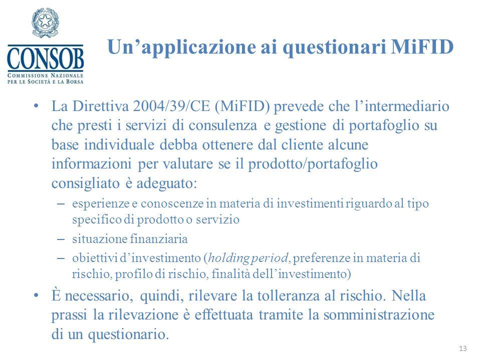 La Direttiva 2004/39/CE (MiFID) prevede che lintermediario che presti i servizi di consulenza e gestione di portafoglio su base individuale debba otte