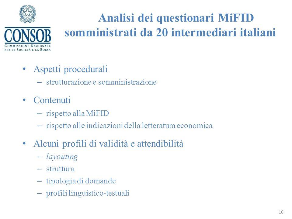 Analisi dei questionari MiFID somministrati da 20 intermediari italiani Aspetti procedurali – strutturazione e somministrazione Contenuti – rispetto a