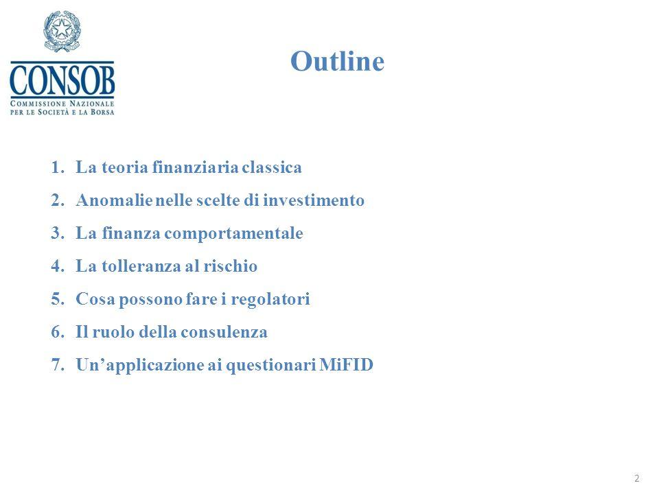 Outline 1.La teoria finanziaria classica 2.Anomalie nelle scelte di investimento 3.La finanza comportamentale 4.La tolleranza al rischio 5.Cosa possono fare i regolatori 6.Il ruolo della consulenza 7.Unapplicazione ai questionari MiFID 2