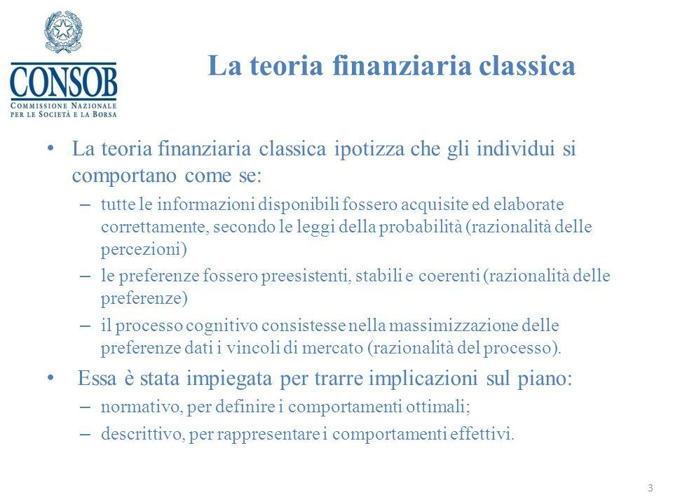 La teoria finanziaria classica ipotizza che gli individui si comportano come se: – tutte le informazioni disponibili fossero acquisite ed elaborate co
