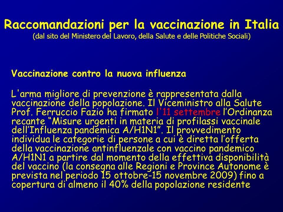 Raccomandazioni per la vaccinazione in Italia (dal sito del Ministero del Lavoro, della Salute e delle Politiche Sociali) Vaccinazione contro la nuova