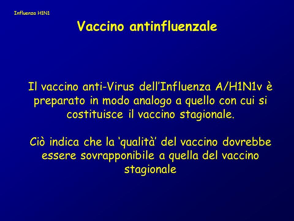 Il vaccino anti-Virus dellInfluenza A/H1N1v è preparato in modo analogo a quello con cui si costituisce il vaccino stagionale. Ciò indica che la quali
