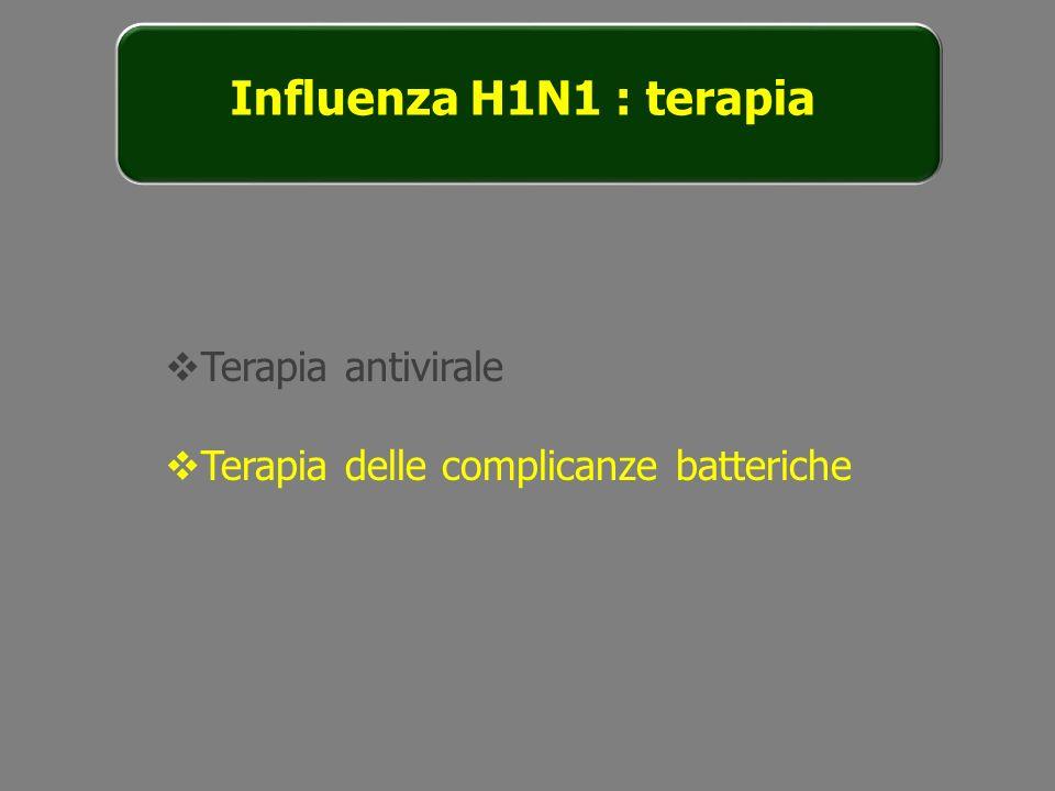 Influenza H1N1 : terapia Terapia antivirale Terapia delle complicanze batteriche