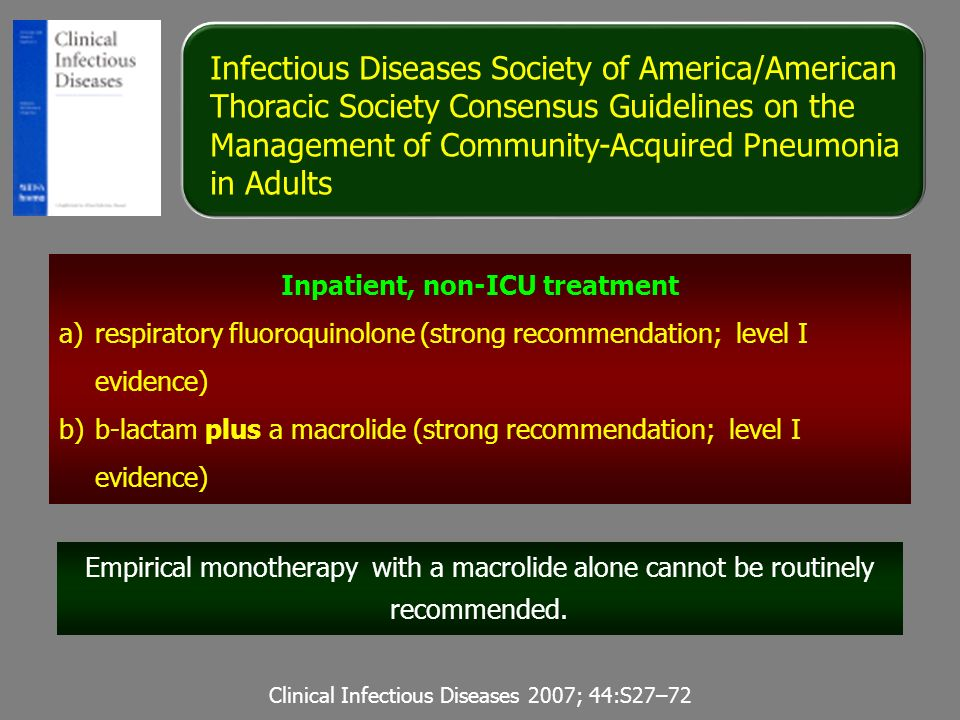 Infectious Diseases Society of America/American Thoracic Society Consensus Guidelines on the Management of Community-Acquired Pneumonia in Adults Clin