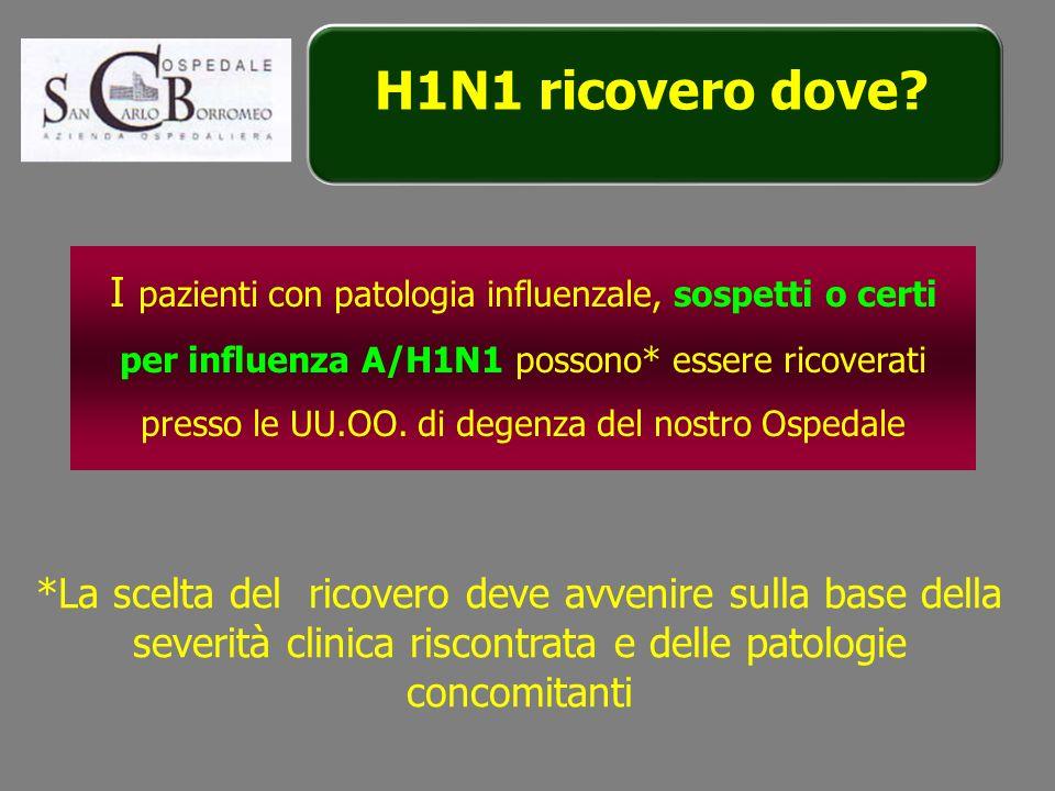 I pazienti con patologia influenzale, sospetti o certi per influenza A/H1N1 possono* essere ricoverati presso le UU.OO. di degenza del nostro Ospedale