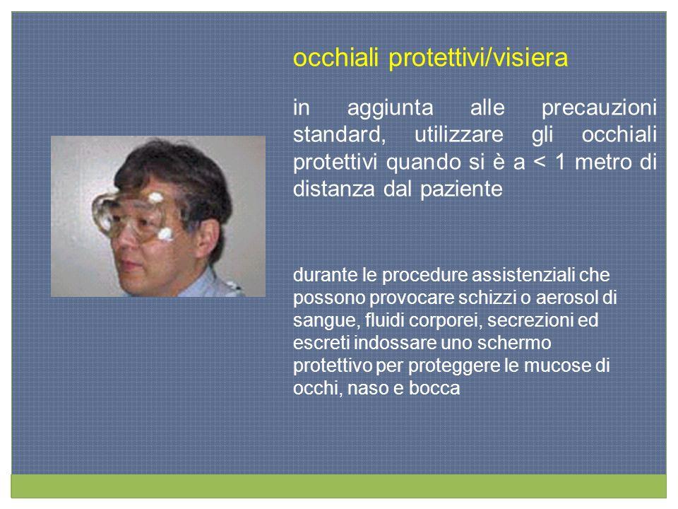 occhiali protettivi/visiera in aggiunta alle precauzioni standard, utilizzare gli occhiali protettivi quando si è a < 1 metro di distanza dal paziente