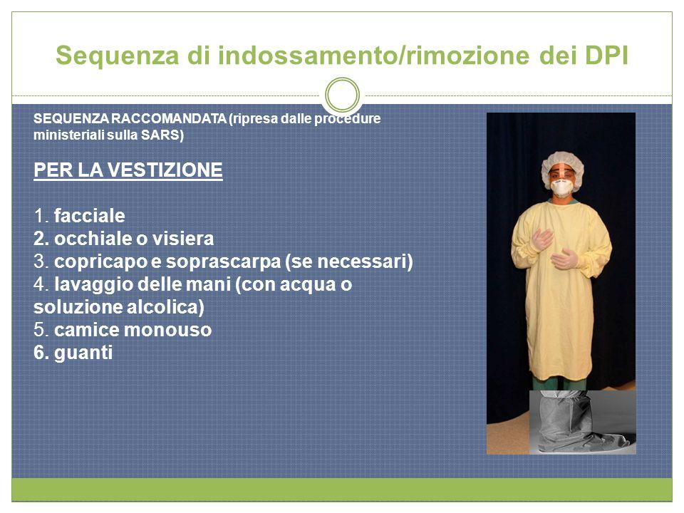 Sequenza di indossamento/rimozione dei DPI SEQUENZA RACCOMANDATA (ripresa dalle procedure ministeriali sulla SARS) PER LA VESTIZIONE 1. facciale 2. oc