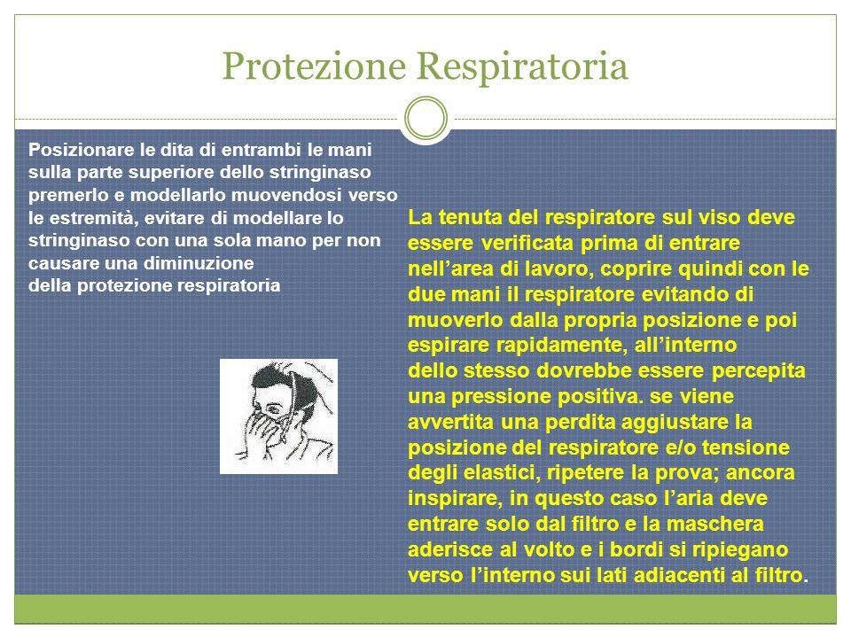 Protezione Respiratoria Posizionare le dita di entrambi le mani sulla parte superiore dello stringinaso premerlo e modellarlo muovendosi verso le estr