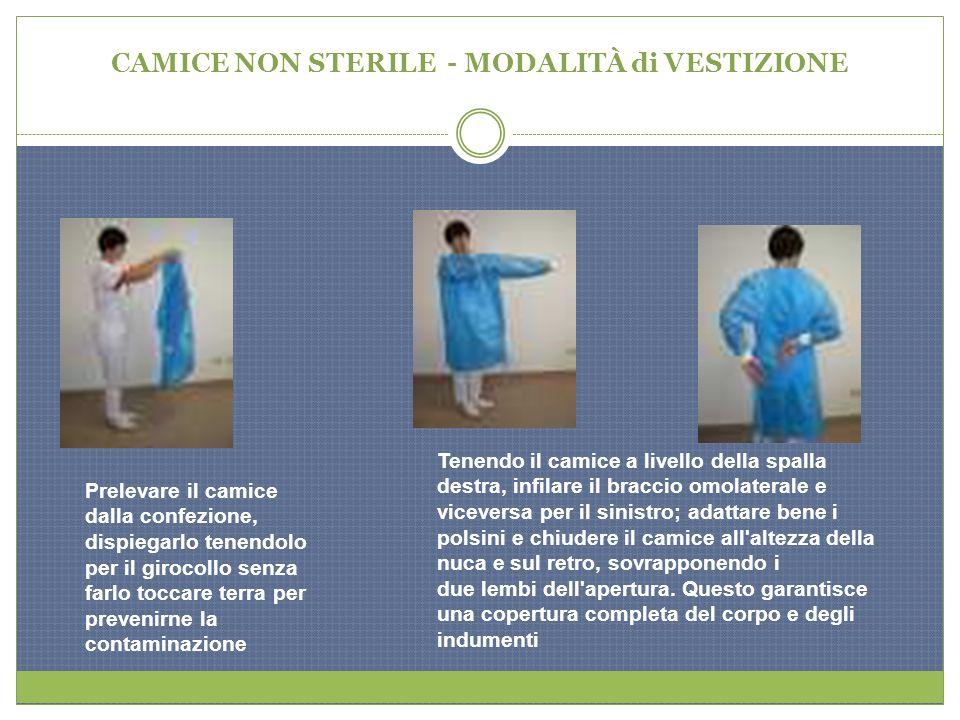 CAMICE NON STERILE - MODALITÀ di VESTIZIONE Prelevare il camice dalla confezione, dispiegarlo tenendolo per il girocollo senza farlo toccare terra per