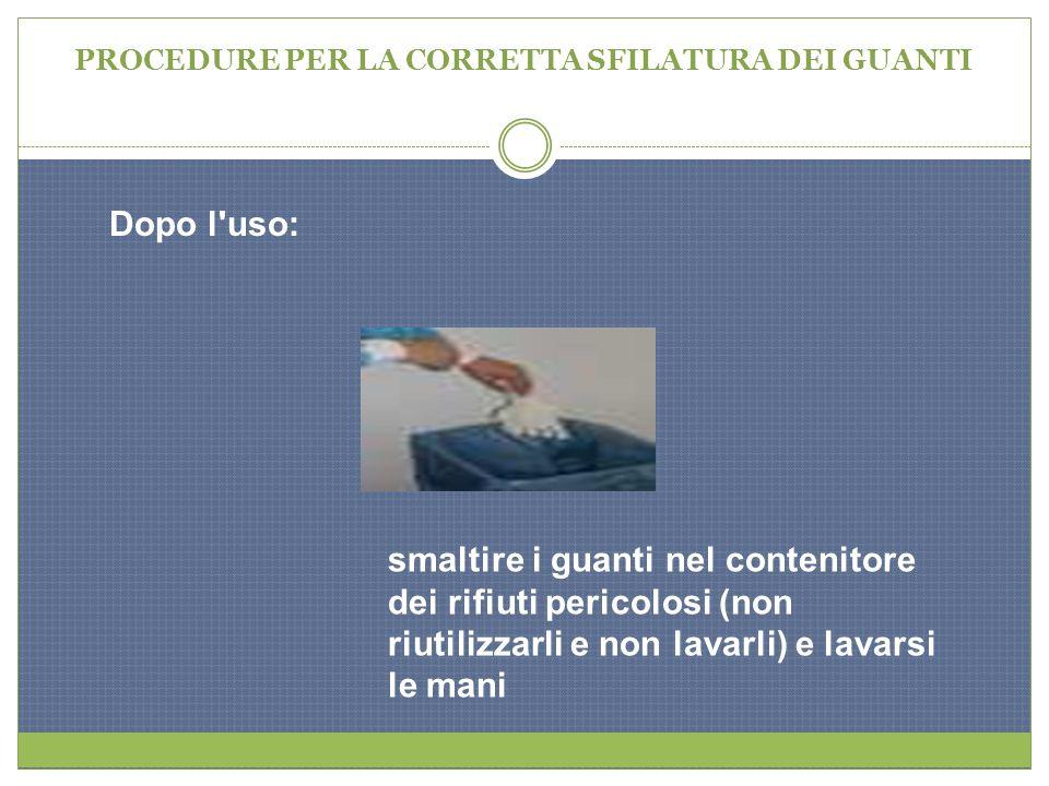 PROCEDURE PER LA CORRETTA SFILATURA DEI GUANTI Dopo l'uso: smaltire i guanti nel contenitore dei rifiuti pericolosi (non riutilizzarli e non lavarli)