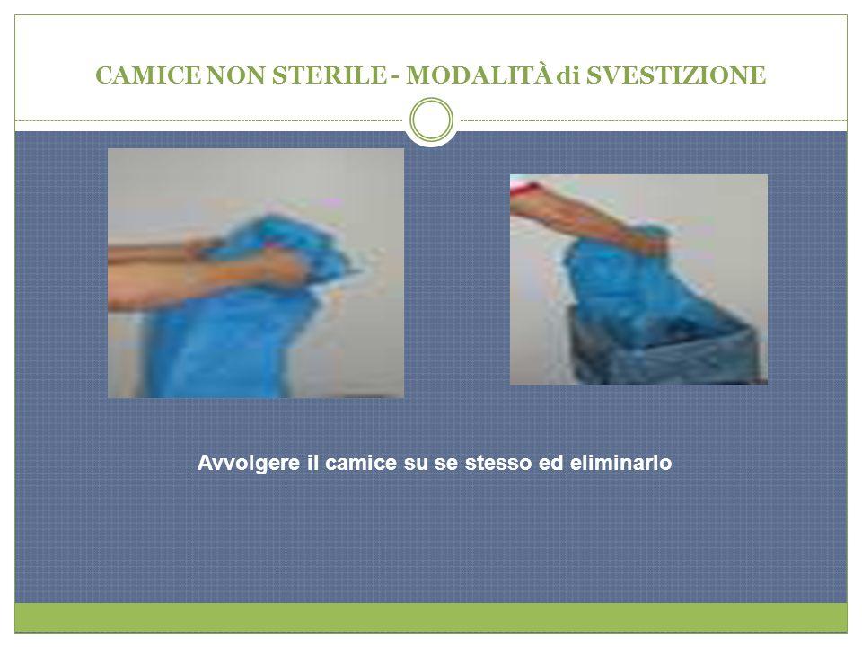 CAMICE NON STERILE - MODALITÀ di SVESTIZIONE Avvolgere il camice su se stesso ed eliminarlo