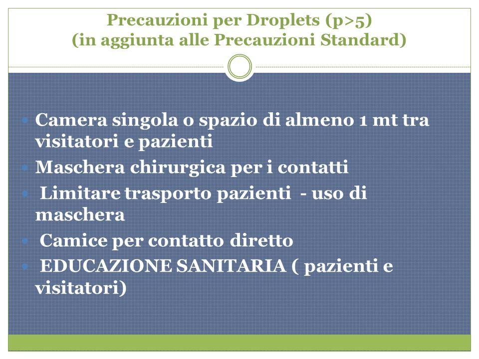 Precauzioni per Droplets (p>5) (in aggiunta alle Precauzioni Standard) Camera singola o spazio di almeno 1 mt tra visitatori e pazienti Maschera chiru