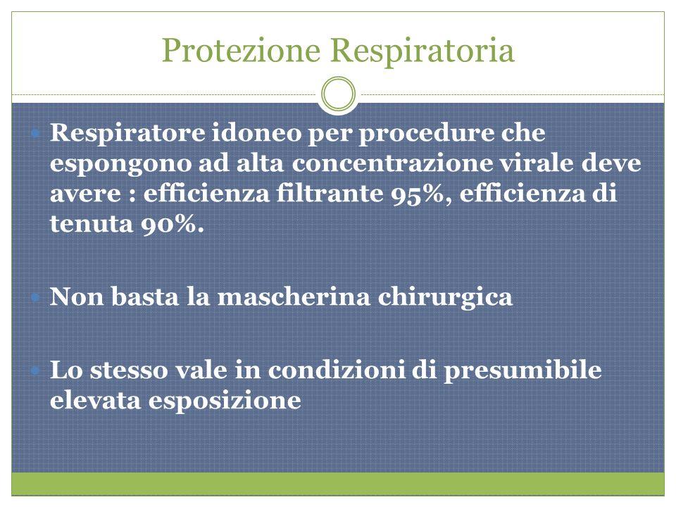 Protezione Respiratoria Respiratore idoneo per procedure che espongono ad alta concentrazione virale deve avere : efficienza filtrante 95%, efficienza