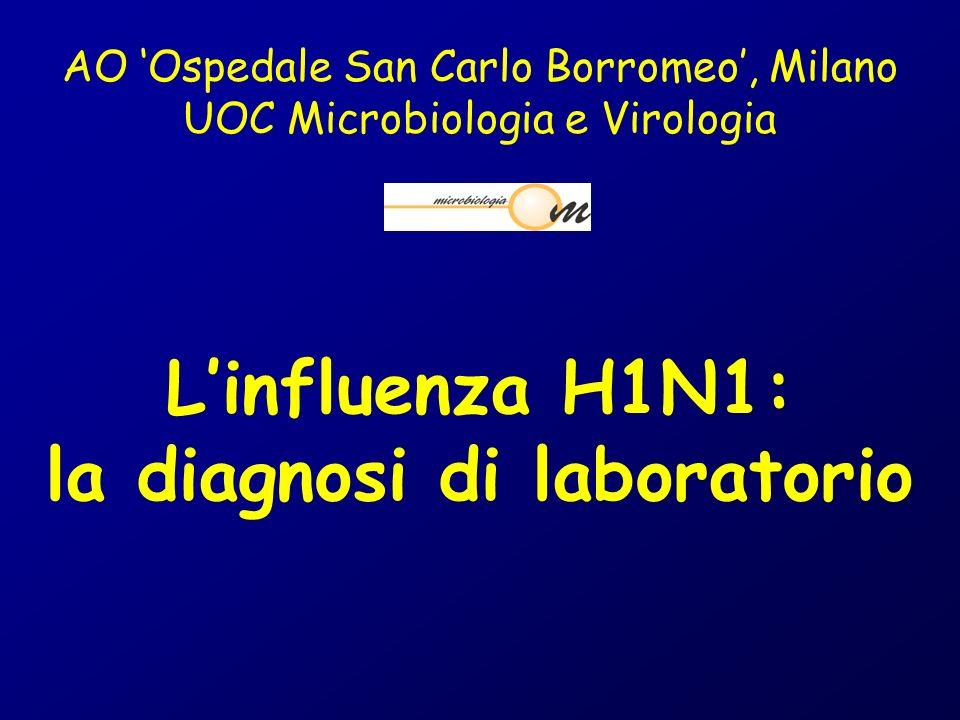 AO Ospedale San Carlo Borromeo, Milano UOC Microbiologia e Virologia Linfluenza H1N1: la diagnosi di laboratorio