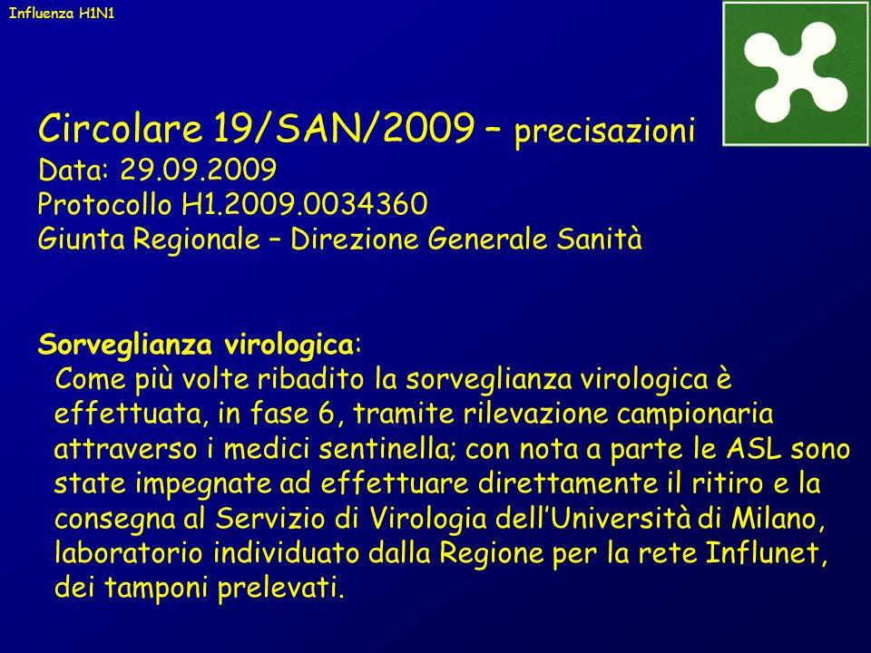 Circolare 19/SAN/2009 – precisazioni Data: 29.09.2009 Protocollo H1.2009.0034360 Giunta Regionale – Direzione Generale Sanità Sorveglianza virologica: