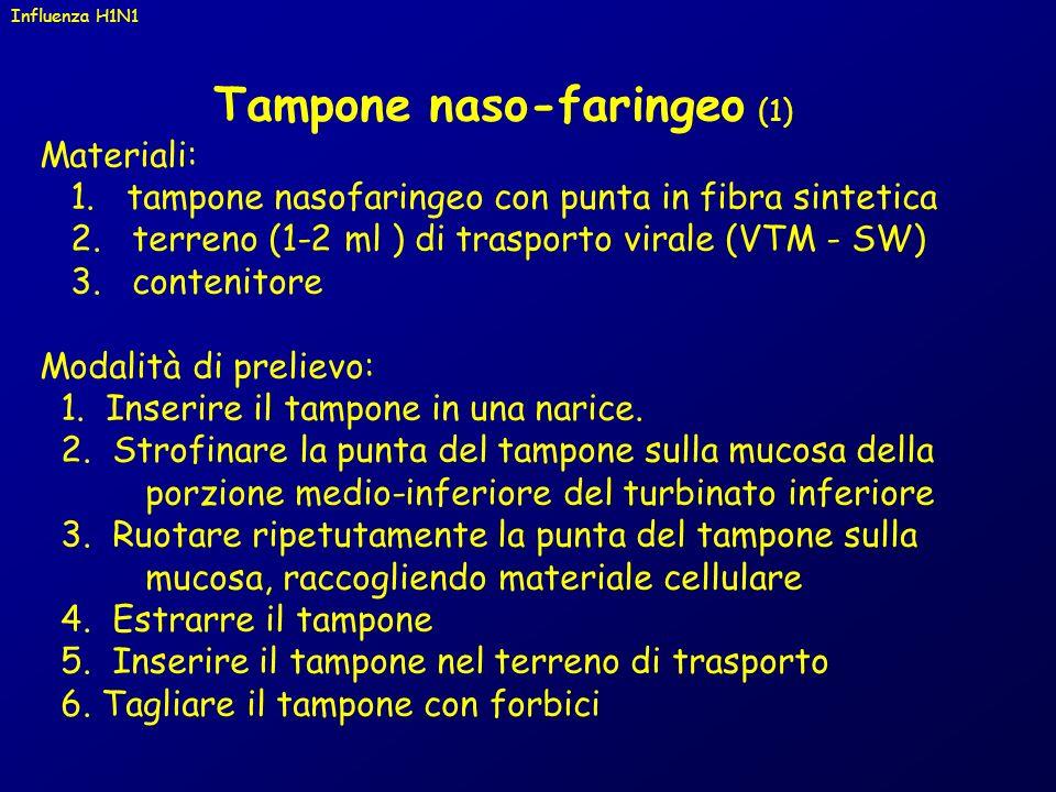 Tampone naso-faringeo (1) Materiali: 1. tampone nasofaringeo con punta in fibra sintetica 2. terreno (1-2 ml ) di trasporto virale (VTM - SW) 3. conte