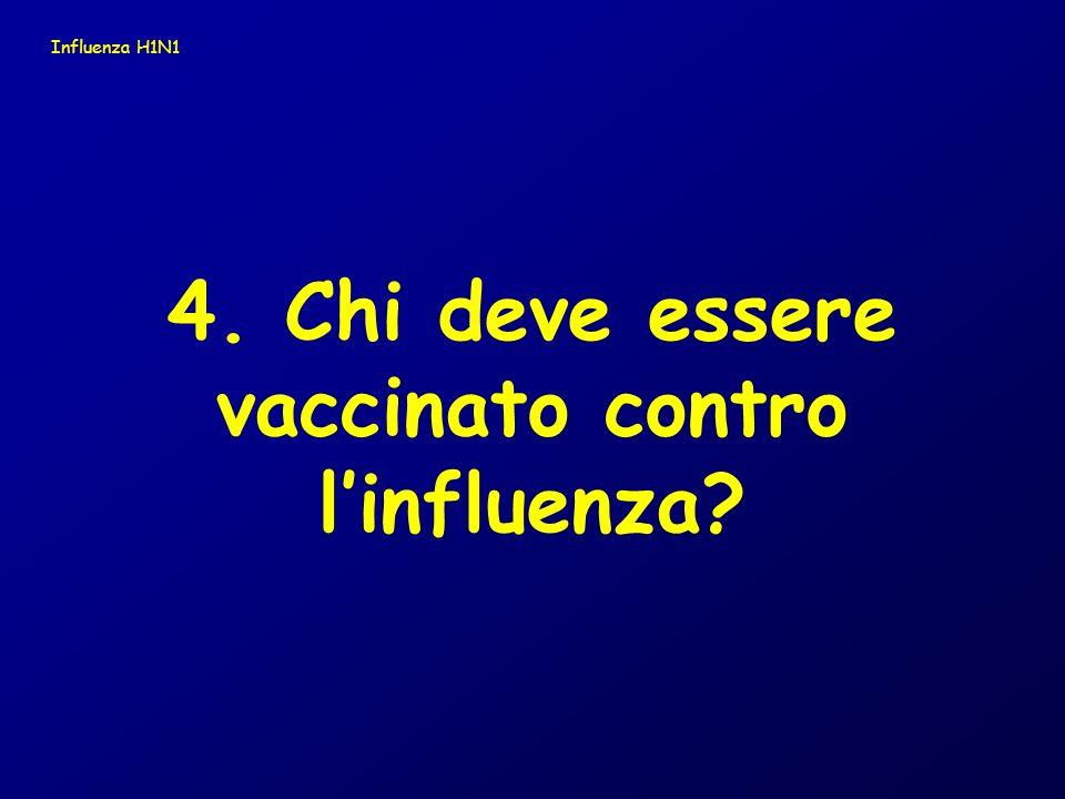 4. Chi deve essere vaccinato contro linfluenza? Influenza H1N1