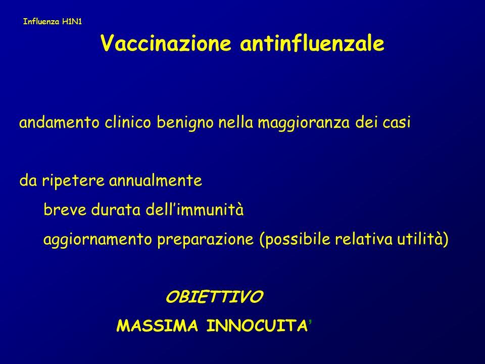 andamento clinico benigno nella maggioranza dei casi da ripetere annualmente breve durata dellimmunità aggiornamento preparazione (possibile relativa utilità) OBIETTIVO MASSIMA INNOCUITA Vaccinazione antinfluenzale Influenza H1N1