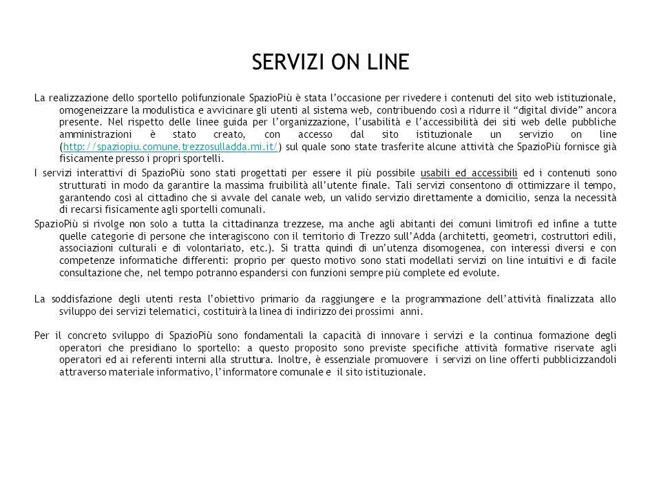 SERVIZI ON LINE I servizi on line e telefonici gestiti da SpazioPiù confluiscono in ununica banca dati alla quale accedono gli operatori assegnati che si occupano dellevasione immediata delle richieste.