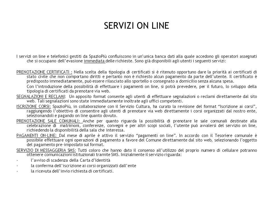 SERVIZI ON LINE I servizi on line e telefonici gestiti da SpazioPiù confluiscono in ununica banca dati alla quale accedono gli operatori assegnati che