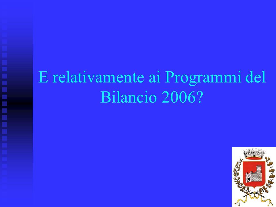19 E relativamente ai Programmi del Bilancio 2006?
