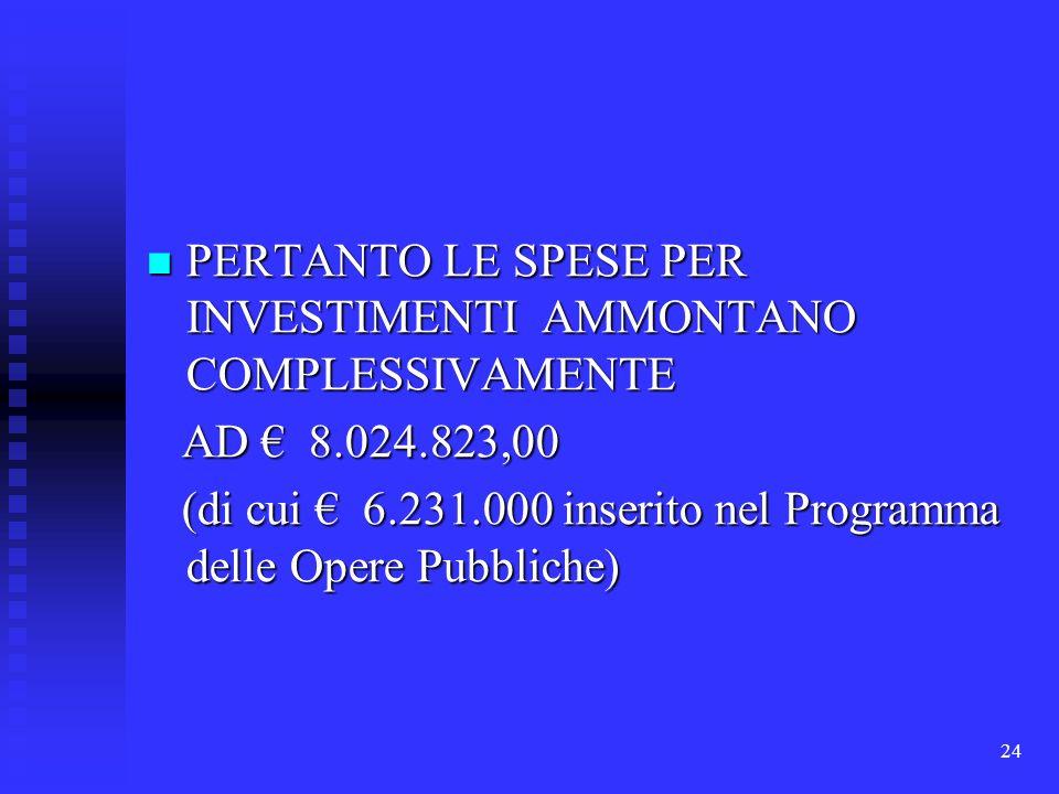 24 PERTANTO LE SPESE PER INVESTIMENTI AMMONTANO COMPLESSIVAMENTE PERTANTO LE SPESE PER INVESTIMENTI AMMONTANO COMPLESSIVAMENTE AD 8.024.823,00 AD 8.02