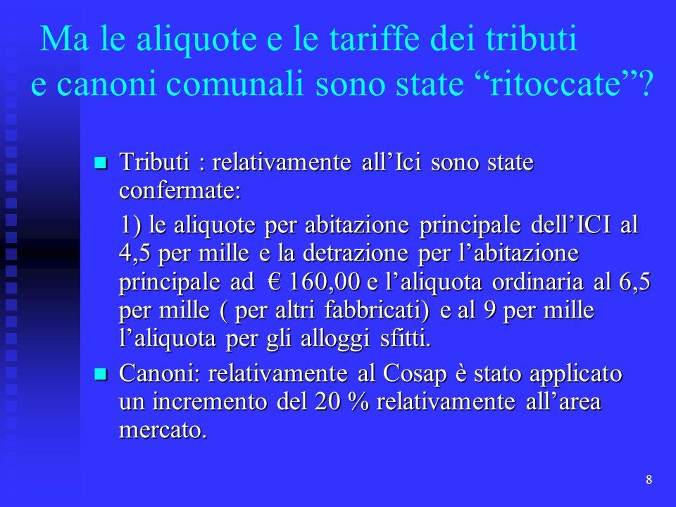 8 Ma le aliquote e le tariffe dei tributi e canoni comunali sono state ritoccate? Tributi : relativamente allIci sono state confermate: Tributi : rela