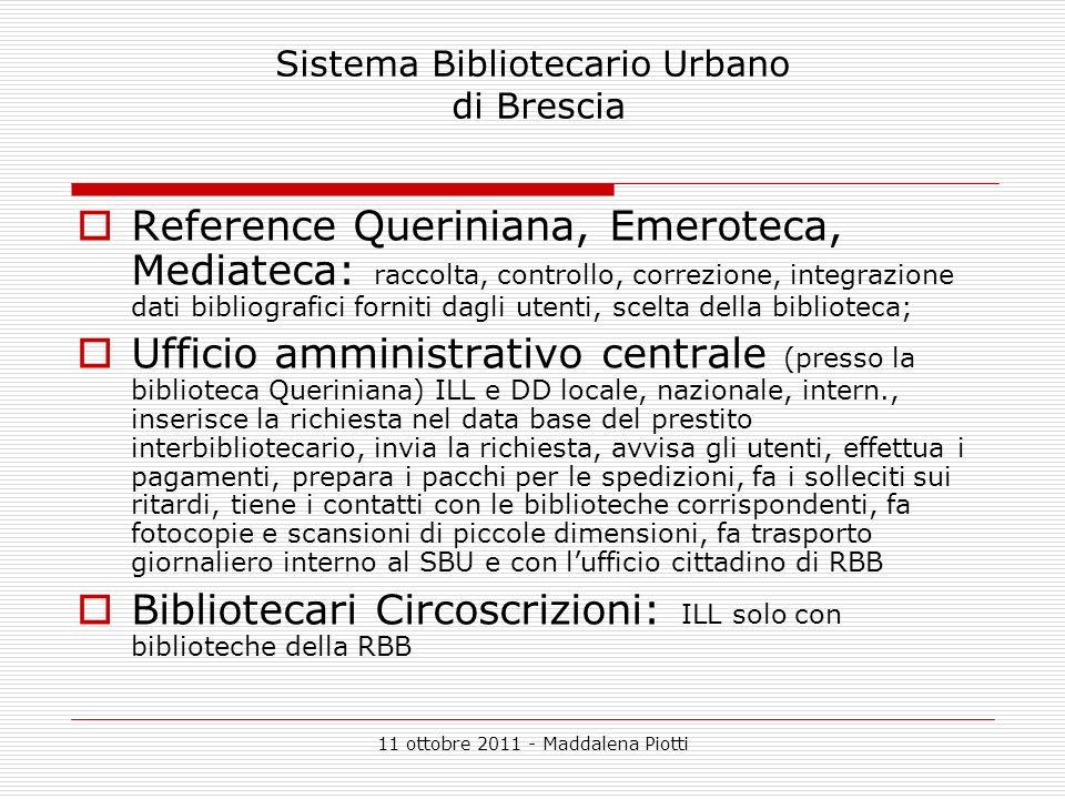 11 ottobre 2011 - Maddalena Piotti Sistema Bibliotecario Urbano di Brescia Reference Queriniana, Emeroteca, Mediateca: raccolta, controllo, correzione