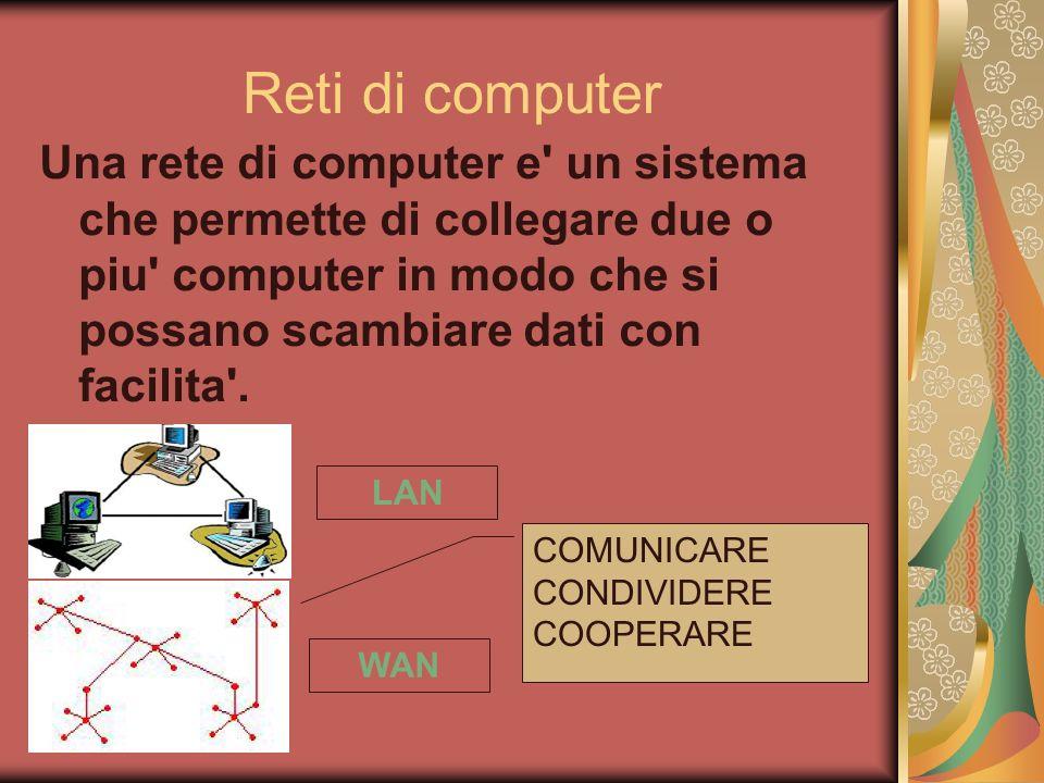Reti di computer Una rete di computer e' un sistema che permette di collegare due o piu' computer in modo che si possano scambiare dati con facilita'.
