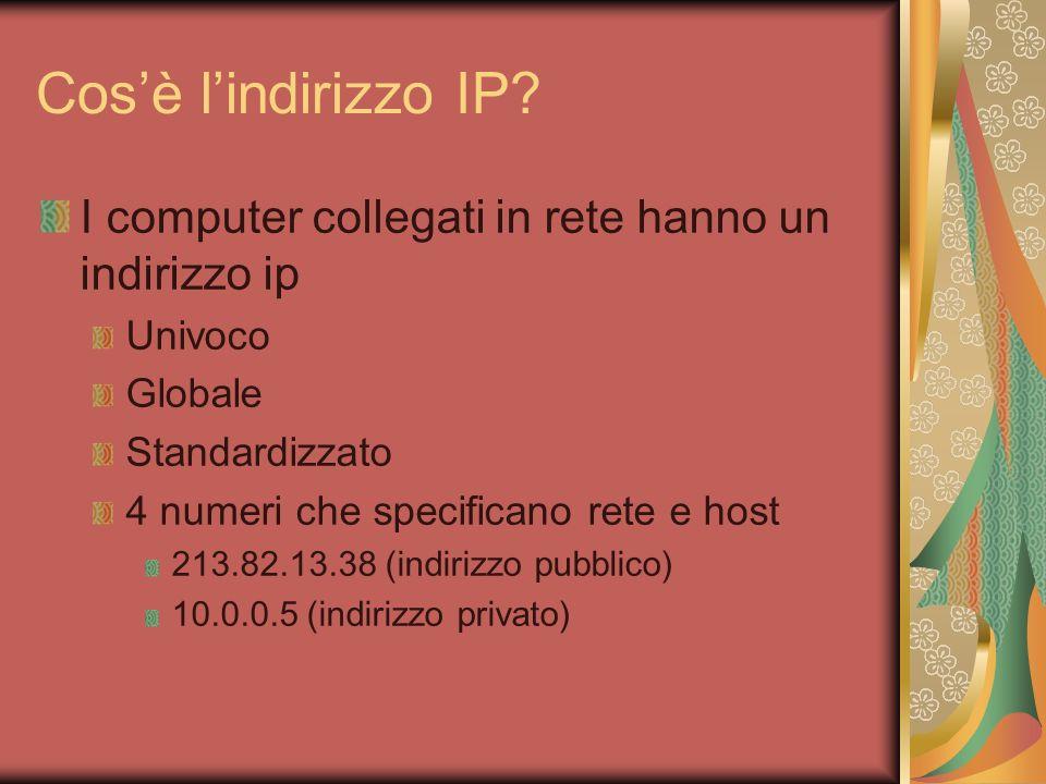 Cosè lindirizzo IP? I computer collegati in rete hanno un indirizzo ip Univoco Globale Standardizzato 4 numeri che specificano rete e host 213.82.13.3