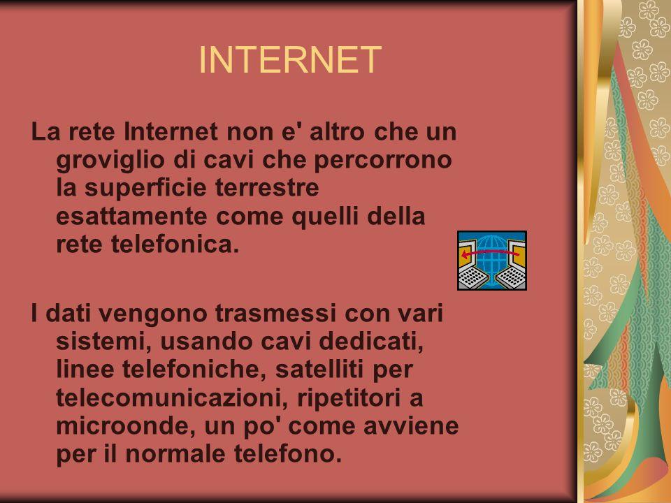 INTERNET La rete Internet non e' altro che un groviglio di cavi che percorrono la superficie terrestre esattamente come quelli della rete telefonica.