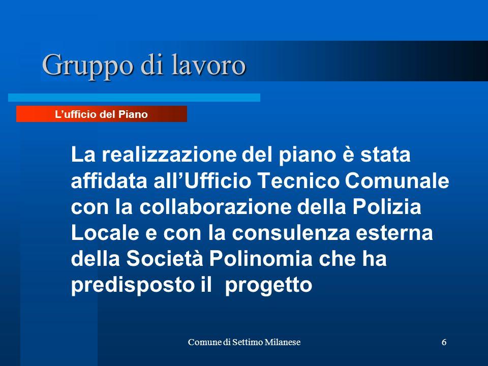 Comune di Settimo Milanese6 Gruppo di lavoro La realizzazione del piano è stata affidata allUfficio Tecnico Comunale con la collaborazione della Poliz