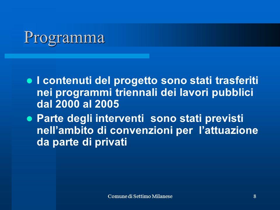 Comune di Settimo Milanese8 Programma I contenuti del progetto sono stati trasferiti nei programmi triennali dei lavori pubblici dal 2000 al 2005 Parte degli interventi sono stati previsti nellambito di convenzioni per lattuazione da parte di privati