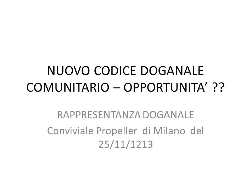 NUOVO CODICE DOGANALE COMUNITARIO – OPPORTUNITA ?? RAPPRESENTANZA DOGANALE Conviviale Propeller di Milano del 25/11/1213