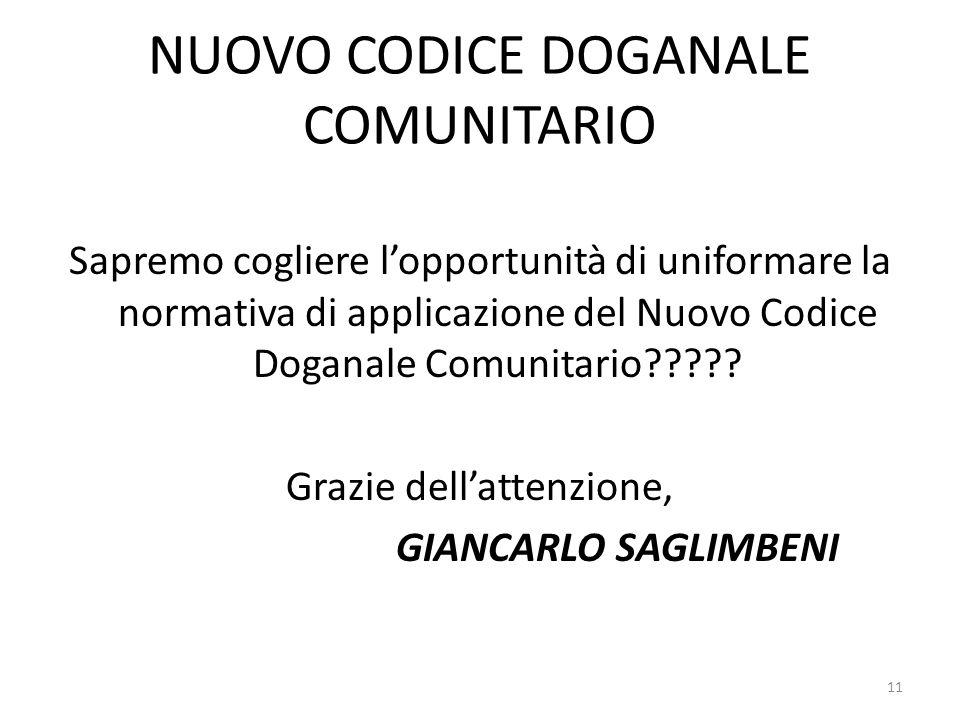 NUOVO CODICE DOGANALE COMUNITARIO Sapremo cogliere lopportunità di uniformare la normativa di applicazione del Nuovo Codice Doganale Comunitario?????